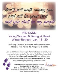 Young Women's Winter Retreat and the Young At Heart @ Walcamp Outdoor Ministries and Retreat Center | Kingston | Illinois | United States